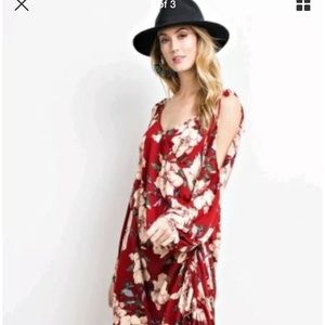 Easel Anthropologie floral scarlet red boho dress